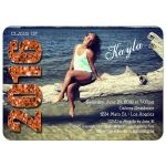 Modern Orange Glittery Typography Photo Graduation Invitation