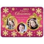 Best pink and gold multi-photo ornament frame and snowflakes Christmas or Holiday photo cards