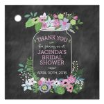 Chalkboard Mason Jar Purple and Pink Flowers Bridal Wedding Shower Gift Favor Tag
