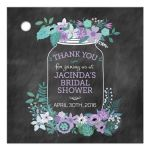 Chalkboard Mason Jar Purple and Green Flowers Bridal Wedding Shower Favor Gift Tag