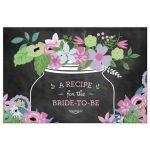 Chalkboard Mason Jar Purple and Pink Flowers Bridal Wedding Shower Recipe Postcard