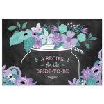 Chalkboard Mason Jar Purple and Teal Flowers Bridal Wedding Shower Recipe Postcard
