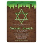 Mining Video Game Pixel Graphic Bar Mitzvah Invitation Front