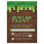 3D cube pixelated building block video game Bar Mitzvah RSVP reply card in brown and green front