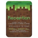 Pixelated building block video game brown and green Bar Mitzvah reception insert card front