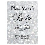"""Time to Drink Champagne and Dance on the Table"" on silver sparkles New Year's Eve Party Invitation"