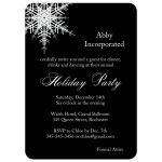 corporate holiday party invitation with large offset snowflake on bold black background.