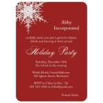 elegant offset snowflake on corporate holiday party invitation in red
