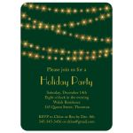 Gold Twinkle Lights on dark green Holiday Party Invitation