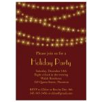 Gold Twinkle Lights on red Holiday Party Invitation