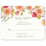 Olive green and pink watercolor floral wedding RSVP