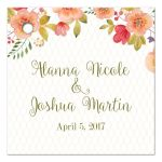 Olive green and pink watercolor floral wedding favor gift tags