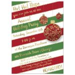 Best red, white and green candy cane striped Christmas or holiday party invitation with gold tree ornaments and gold glitter.