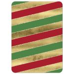 Great red, white and green candy cane striped Christmas or holiday party invite with gold tree ornaments and gold glitter.