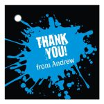 Blue Paintball Party Bar Mitzvah Gift Favor Tag