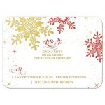 Red, gold, and white elegant snowflake winter wedding RSVP reply card front