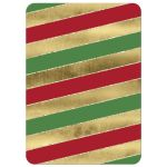 Great red, green, gold and white candy cane striped Christmas or holiday party invite with red and gold glitter Xmas tree ornaments.