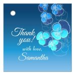 Blue Ombre Floral Falling Pansy Gift/Favor Tag