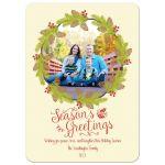 Pine cone wreath Season's Greetings Christmas holiday photo card