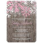 Baby Shower Invitations - Pink Snowflake Rustic Winter Wood