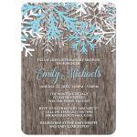 Baby Shower Invitations - Blue Snowflake Rustic Winter Wood