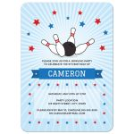 Bowling party invitation with bowling ball knocking down pins surrounded by red and blue stars.