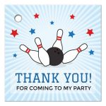 Bowling birthday thank you for coming to my party favor tags