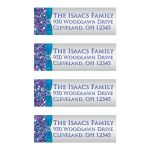 Great purple, turquoise and silver gray Bat Mitzvah return address mailing labels with glitter, ribbon, bow and Jewish Star.