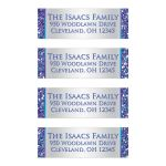 Best personalized purple, turquoise and silver gray Bat Mitzvah return address mailing labels with glitter.