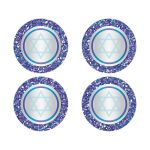 """Best 2"""" round purple, turquoise and silver grey Bat Mitzvah envelope seals or stickers with glitter and Jewish Star of David."""