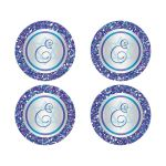 """Great 2"""" round purple, turquoise and silver grey Bat Mitzvah envelope seals or stickers with monogram, glitter and Jewish Star of David."""