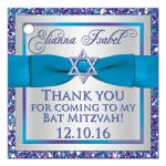 "Great personalized 2"" round purple, turquoise and silver grey Bat Mitzvah party favor tags with ribbon, bow, glitter, and Star of David."