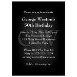 Elegant Masculine Black Birthday Invitation