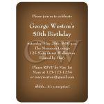 Elegant Monogram Brown Birthday Party Invitation