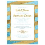 Best teal or turquoise blue and gold foil and gold glitter striped bridal shower, wedding shower or couples shower invitation.