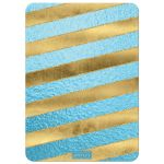 Great teal or turquoise blue and gold foil and gold glitter striped bridal shower, wedding shower or couples shower invite