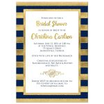 Best navy blue and gold foil and gold glitter striped bridal shower, wedding shower or couples shower invitation.