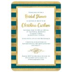 Best teal green or blue and gold foil and gold glitter striped bridal shower, wedding shower or couples shower invitation.