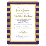 Great purple, white and gold foil and gold glitter striped bridal shower, wedding shower or couples shower invitations.