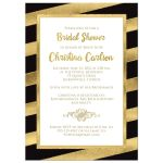 Best black, white and gold foil and gold glitter striped bridal shower, wedding shower or couples shower invitation.
