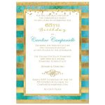 Great teal or turquoise blue green watercolors and gold foil and gold glitter striped 65th birthday party invitation.