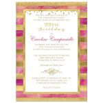 Great pink watercolors and gold foil and gold glitter striped 75th birthday party invitation.