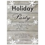 corporate holiday party invitation with large snowflakes on a barn board background