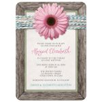 Bat Mitzvah Invitations - Rustic Chic Pink Daisy Turquoise Wood