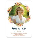 Navy blue and coral feather arrow wreath photo graduation announcement