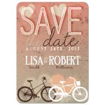 Couple Bicycles Love Hearts Save the Date