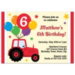 Farm themed birthday party invite for kids with red tractor and balloons