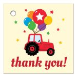 Red tractor with balloons thank you label