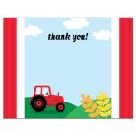 Red tractor on green hills farm themed thank you note card