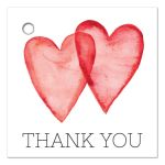 Classy and stiles favor thank you labels with red water-color hearts